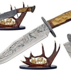 Deer Themed Simulated Stag Etched Bowie Knife With Antler Display Stand