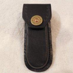 "Black 5"" Leather Knife Sheath. Decorative 12 Gauge Shotgun Shell Snap - Case ."