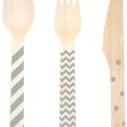 Dress My Cupcake Stamped Wooden Cutlery Set, Chevron/Striped/Polka Dot, Gray, 18-Pack