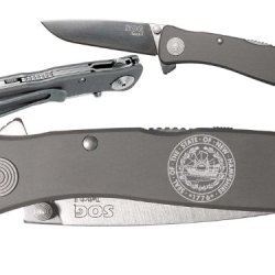 State Of New Hampshire Seal Custom Engraved Sog Twitch Ii Twi-8 Assisted Folding Pocket Knife By Ndz Performance