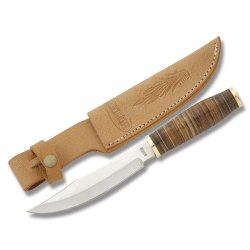 Marbles Outdoors Knives 807 Field Fixed Blade Knife With Round Design Brown Stacked Leather Handles