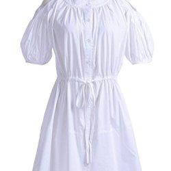 Anna-Kaci S/M Fit White Peasant Style Cut Out Shoulder Drawstring Tie Waist Dress