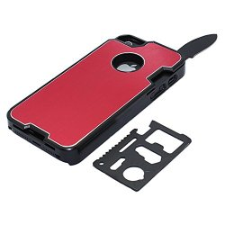 Anko Multi-Functional Metal Protective Phone Case With A Small Swiss Army Knife For Apple Iphone 5 5S (Red)