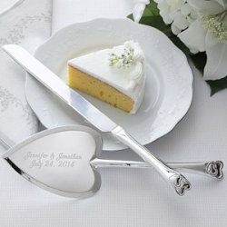 Personalized Wedding Cake Knife & Server Set - Heart Design