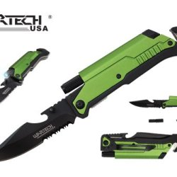 """Wartech 8"""" Assisted Open Folding Tactical Pocket Knife With Led Light And Fire Starter"""
