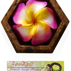 "Jittasil Thai Hand-Carved Soap Flower, 4"" Scented Soap Carving Gift-Set, Rainbow Plumeria In Decorative Hexagonal Mango Wood Case"