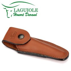 Laguiole Honoré Durand Brown Leather Belt Pocket For 11/12 Cm Knives - Knife Case - Quality Sheath