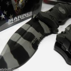 Usmc Marines Corp Officially Licensed Assisted Opening Knives Black Rescue Knife