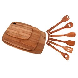 Bamboo Cutting Board 3-Piece Set And Bamboo Utensil 6-Piece Set - ²Dowez