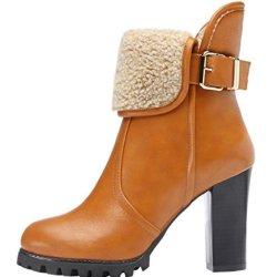 Guciheaven Women Fashion Soft Round Toe Zipper Rubber Leisure Snow Boots(8 B(M)Us, Khaki)