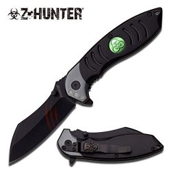 Zombie Hunter Unique Blade Biohazard Spring Assisted Tactical Folding Knife Black W/ Pocket Clip (Limited Edition