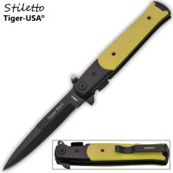 "P-109-Yl-Sb 9"" Godfather Cnvu5Lhx Style Folding Knife- Yellow Mxdca (Super Bitch) Folding Knife Edge Sharp Steel Ytkbio Tikos567 Bgf 9"" Godfather Style Folding Knife- Solid Q42K4V Yellow Handle . All Hand Made. Italian Design. Black 1045 Surgical Steel Bl"