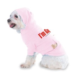 I'M Gay What'S Your Excuse? Hooded (Hoody) T-Shirt With Pocket For Your Dog Or Cat Medium Lt Pink