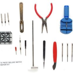 Bestdealusa One Set 16 Piece Watch Repair Tool Kit For Batteries And Bands On Most Watches