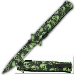 Green & Black Skull Blade Milano Zombie Godfather Style Spring Assist Opening Pocket Knife
