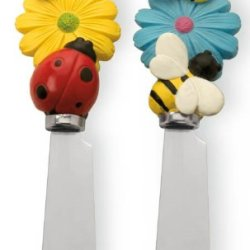 Boston International Cheese Spreaders, Happy Garden, Set Of 2