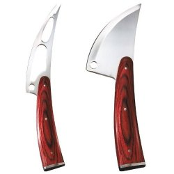 Trudeau Circo Stainless Steel Soft & Hard Cheese Knife Set W/ Pakka Wood Handles