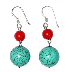 Handmade Sterling Silver, Red Coral & Turquoise Bead French Wire Earrings