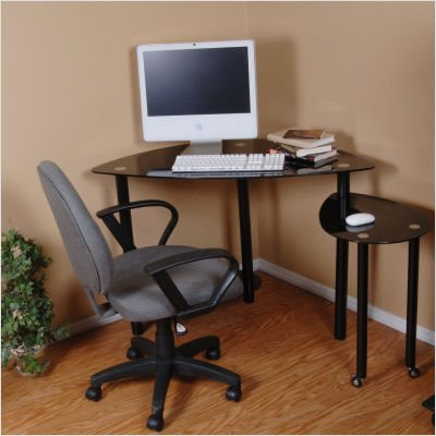 Picture of Comfortable Black Glass Corner Computer Desk with Extension Table (Black) (60