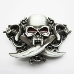 Men Belt Buckle Classic Skull Knives Rhinestones Bling Belt Buckle