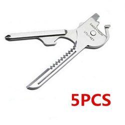 5Pcs-- 6 In 1 Outdoor Folding Portable Multi Function Key Clasp Knife Mini Tool