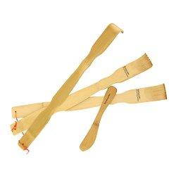"""3 - 17"""" Bamboomn Brand Bamboo Back Scratchers Backscratchers + Bamboo Spreader"""