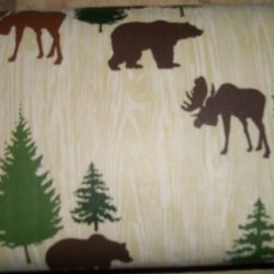 Deer,Bear,Hunters 70 Inch Round Vinyl Tablecloth With Backing