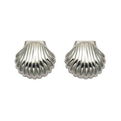 Sterling Silver Scallop Shell Stud Earrings