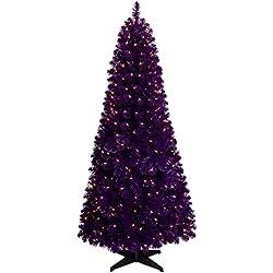 Treetopia Basics - Purple Artificial Christmas Tree, 6 Feet, Clear Lights