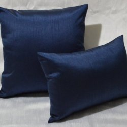 "Dreamhome - Solid Faux Silk 12"" X 18"" Decorative Pillow Cover/Sham - Navy"