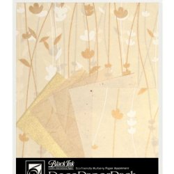 Black Ink Decorative Paper Pack, 8.5 By 11-Inch, Meadow Flowers Cream