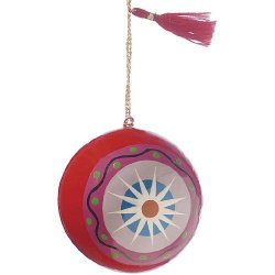 Luna Bazaar Red With White Star Painted Paper Mache Ornament - 2 Inch .