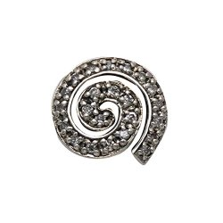 Sterling Silver At Symbol Or Nautilus Shell Pendant With White Cz Stones