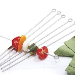 "Norpro Stainless Steel Bbq Skewers 14"" Set Of 6 Shish Kabob Grill Camping New"
