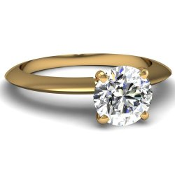 Fascinating Diamonds 0.75 Ct Round Very Good Cut Diamond Knife Edge Solitaire Engagement Ring G-Color Gia