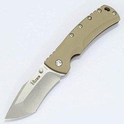 Kizer Knives Ki5414A3 Flipper, Tan G10, Stone Washed Tanto