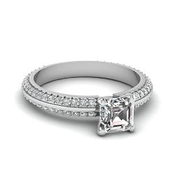 Fascinating Diamonds 1 Ct Asscher Cut Diamond Knife Edge Engagement Ring Two Row Pave Set Vs1-G Color Gia