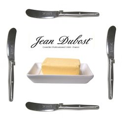 French Laguiole Dubost - Set Of 4 Spreaders/Butter Knives - All Stainless Steel - Quality Family Dinner Inox Table Flatware/Cutlery Setting - Direct From France