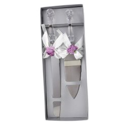 Wedding Party Flower Style Cake Knife Server Set With Faux Crystal Handle (Purple)