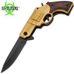 Tf-706-Gdw 7.25 Inch Dqvrab Z-Slayer Acjh2Mrg31 Undead Gasher Pistol Knife (Golden) Folding Knife Sharp Edge Yuu45672Gh 7.25 Inch Overall Length. 1065 Surgical Steel Blade. Razor Sharp To The Touch Blade With Lightning Fast Trigger 7Pupnsyy Assist D