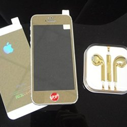 Super Space Premium Metallic Bright Plated Real Tempered Front And Back Screen Protectors Colorful Transformed Kit, 9H Strong, 0.3 Mm Thin, New Design For Apple® Iphone® 5 / Iphone® 5S, Verizon, At&T, Sprint, T-Mobile (Gold - Front & Back)