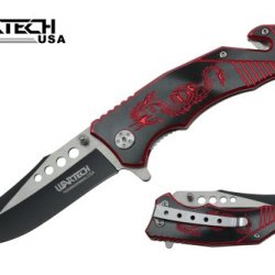 """Wartech 8"""" Assisted Open Rescue Folding Pocket Knife, Two Tone Blade, Black Handle With Red Dragon Engraved"""