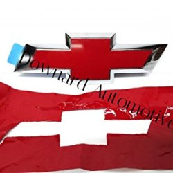 "Chevy Bowtie Emblem Vinyl Gloss Red Decal (Overlay) You Cut From (2) 11"" X 4"" Universal Rectangular Sheets - Wrapping Instructions Included - Customize Your Silverado Camaro Cruze Equinox Etc."