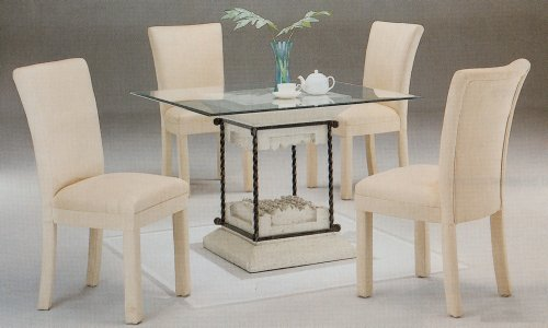 Image of 5pc Faux Stone Glass Top Dining Table & Taupe Parson Chairs Set (VF_dinset-7065-4550TPE)