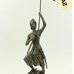 """Collectible Bronze Sculpture Statue Warriors & Soldiers Joan Of Arc French Mili... 23""""X14"""" 13 Lbs. Real Bronze."""