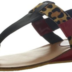 Kelsi Dagger Women'S Genova Wedge Sandal,Black/Leopard,8.5 M Us