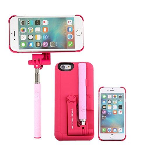 自撮り棒付き iPhone6s iPhone6 ケース カバー セルカ棒 有線 手元にシャッターボタン付き / ピンク