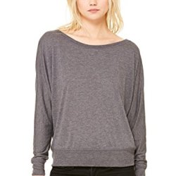 Zara Yoga Studio |La| Women'S Flowy Long Sleeve Off Shoulder Tee (2 Xlarge /Dark Grey Heather)