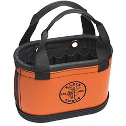 "Klein Tools 5144Hbs 14"" Hard Body Oval Orange Bucket Tool Storage Bag"