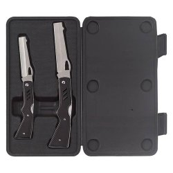 New Maxam 2Pc Rifle Shaped Lockback Knife Set Honed Blade Stainless Steel Pocket Clip